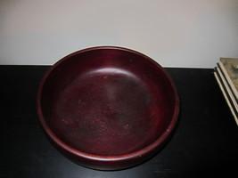 Bowl Vintage Wood Solid Pedestal Base Mahogany Cherry Round Salad Fruit ... - $60.00