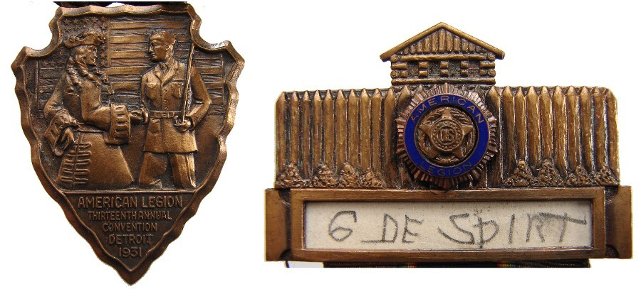 US 1931 AMERICAN LEGION 13th ANNUAL DETROIT CONVENTION ENAMEL MEDAL & RIBBON