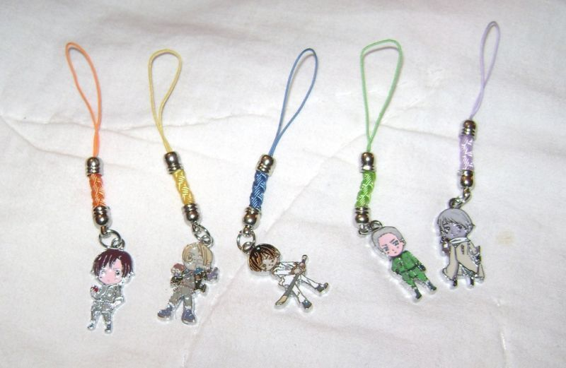 AXIS POWERS HETALIA ANIME 5 CELL PHONE STRAP SET NEW