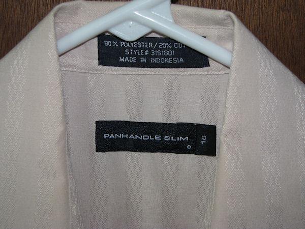 Mens Panhandle Slim SS Western Pearl Snap Shirt Size 16 or Large Tan