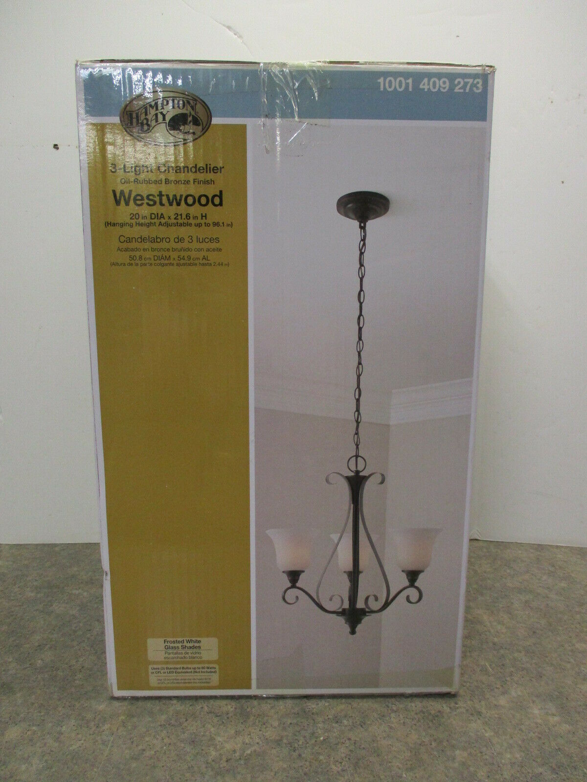 Primary image for HAMPTON-BAY 3-LIGHT CHANDELIER (NEW) PART # 1001409273