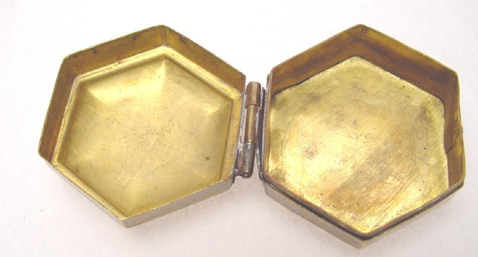 HEXAGONAL BRASS PILL BOX