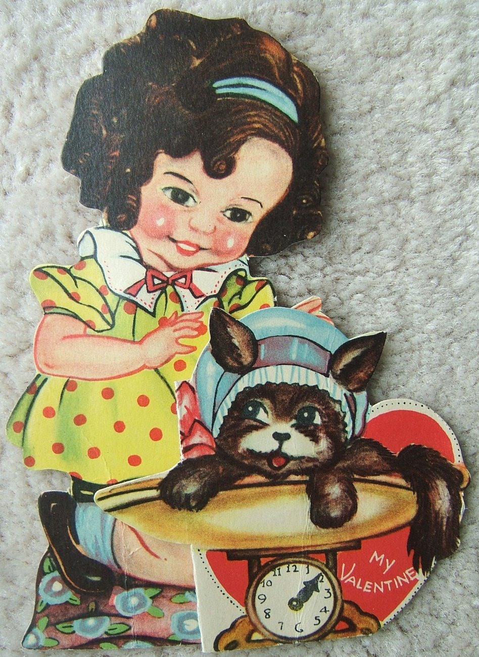 Primary image for Vintage GIRL with PUPPY DOG Fold Out MY VALENTINE VALENTINES DAY Card 1940s USA