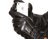 Leather Gloves Men Winter Warm Driving Black Touch Screen Motorcycle With Button