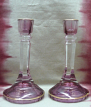 Vintage Pair of Purple Glass Candle Sticks // Elegant Taper Candle Holders - $30.00