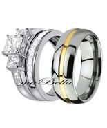 His Tungsten & Hers 3 Pcs Sterling Silver Princess Cut CZ Wedding Ring Band Set - $50.95