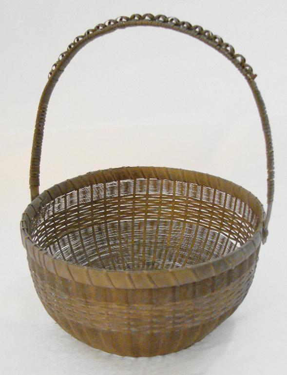 ANTIQUE WOVEN BRASS BASKET