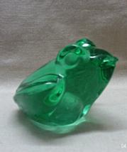 Vintage Green Art Glass Hand Blown Frog Paperweight // Glass Decor // Amphibian - $10.00