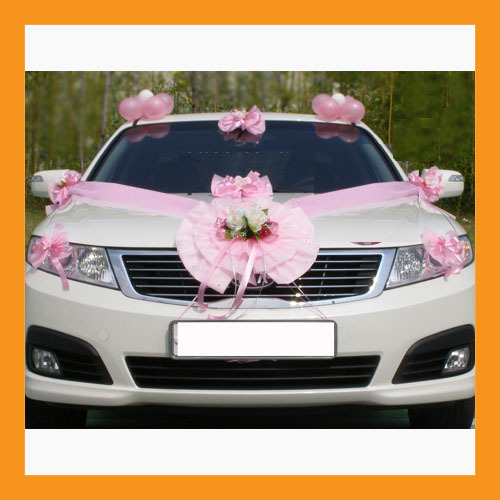 wedding car decoration ribbon flower gift party just married sign suction cup Bonanza