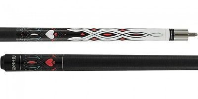 New Athena ATH40 Pool Cue Stick - White w/Black Pink Heart 17-21 oz & Case