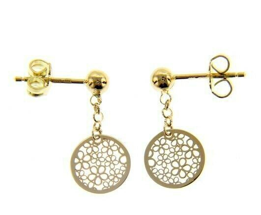 18K YELLOW GOLD PENDANT EARRINGS, FLAT DISC WITH FLOWERS, 20mm, MADE IN ITALY