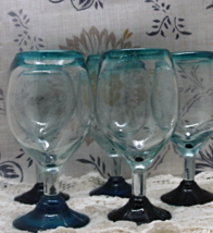 Vintage Set of Five Art Glass Hand Blown Wine Glasses // Vintage Barware - $25.00