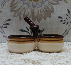 Vintage Stoneware Double Condiment Dish with Wooden Handled Spoon - $6.00