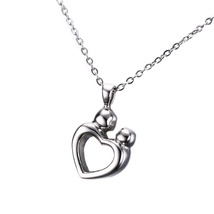 Mother Child Cremation Urn for Memorial Ashes, Stainless Steel Keepsake Pendant  - $23.99