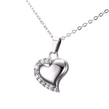 Only Love Heart Shape Memorial Keepsake Necklace, Cremation Jewelry Pendant Urn - $23.99