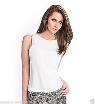 NWT GUESS by MARCIANO White Posy Blouse Shirt Top Sleeveless Embellished... - $59.00