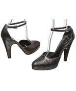 Prada Pewter Embroidered Leather Ankle Strap Pl... - $95.00