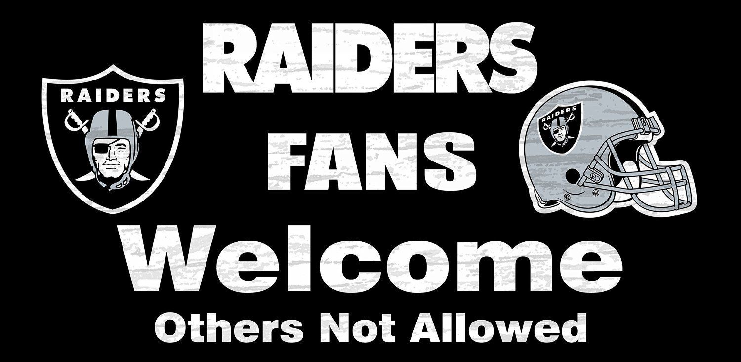 "OAKLAND RAIDERS FANS WELCOME WOOD SIGN with ROPE 12"" X 6"" NFL FOOTBALL MAN CAVE!"