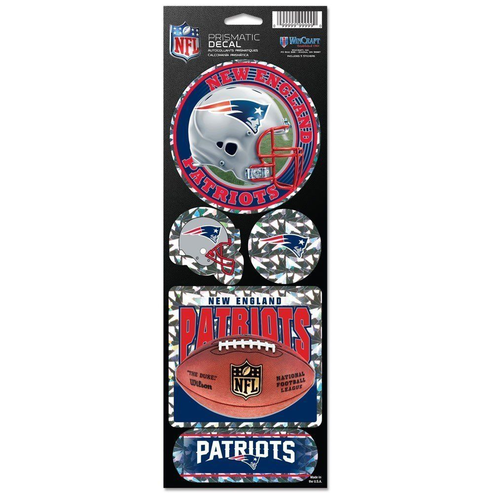 NEW ENGLAND PATRIOTS PRISMATIC HOLOGRAPH STICKER DECAL SHEET OF 5 NFL FOOTBALL