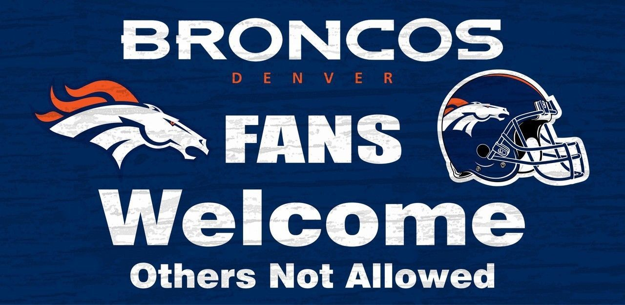 "DENVER BRONCOS FANS WELCOME WOOD SIGN with ROPE 12"" X 6"" NFL FOOTBALL MAN CAVE!"