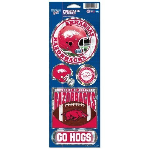 ARKANSAS RAZORBACKS PRISMATIC HOLOGRAPH STICKER DECAL LABEL SHEET OF 5 NCAA