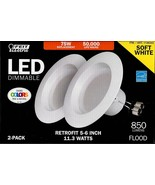 "Feit Electric LED 2 Pk Retrofit Kit Replaces 5-6"" Soft white 2700K 11W 7... - $18.26"