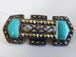 Art Deco style Sterling Silver 925 Marcasite Blue Turquoise Pin Brooch bar - $64.35