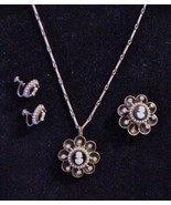 Signed CORO CAMEO Necklace Brooch Earrings Set ... - $79.15