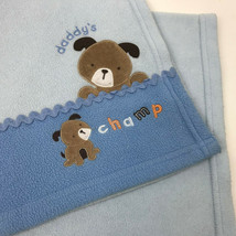 Carters Child Of Mine Daddy's Champ Puppy Light Blue Fleece Baby Blanket Dogs - $19.80