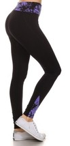 Leggings Black Activewear Fulll Length Contrasting Foldover Waistband  S... - $17.79