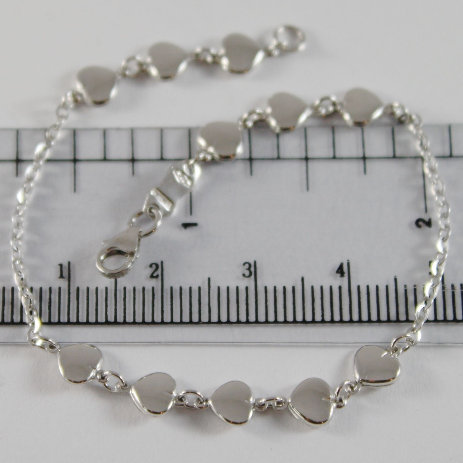 18K WHITE GOLD BRACELET 7.10 INCHES WITH FLAT HEARTS HEART, MADE IN ITALY