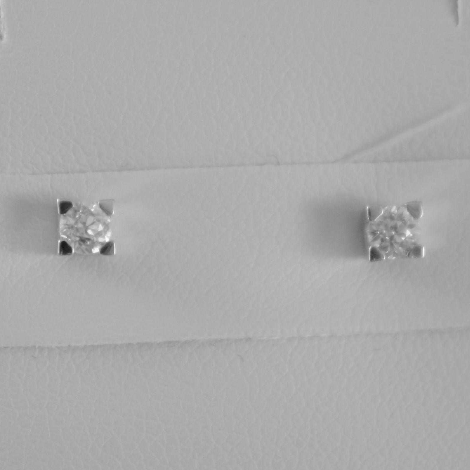 18K WHITE GOLD SQUARE 3 mm EARRINGS DIAMOND DIAMONDS 0.25 CT, MADE IN ITALY