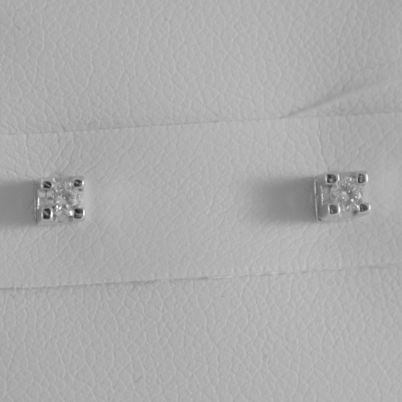 18K WHITE GOLD MINI SQUARE EARRINGS DIAMOND DIAMONDS 0.10 CT, MADE IN ITALY
