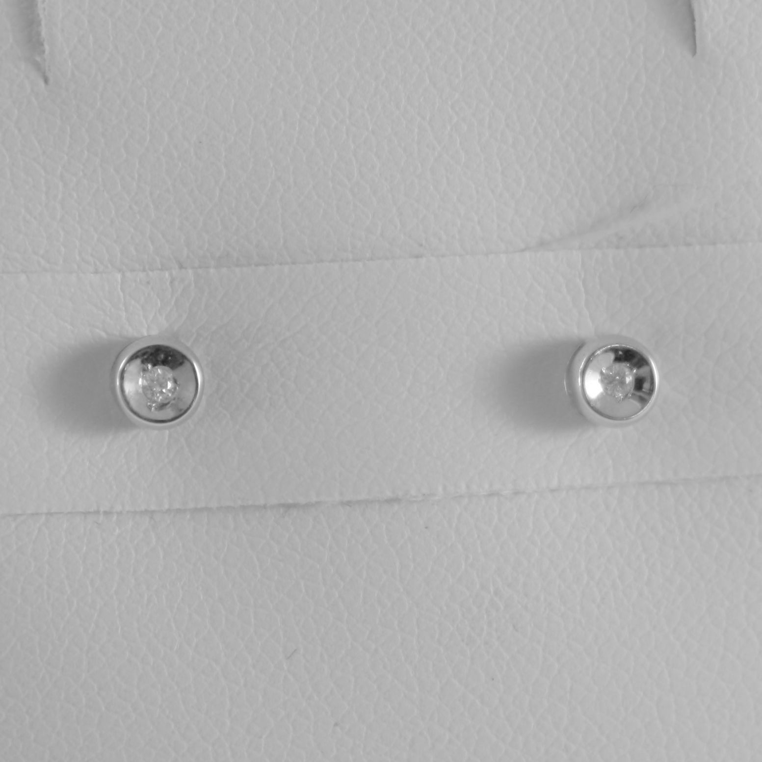 18K WHITE GOLD MINI ROUND EARRINGS DIAMOND DIAMONDS 0.04 CT, MADE IN ITALY