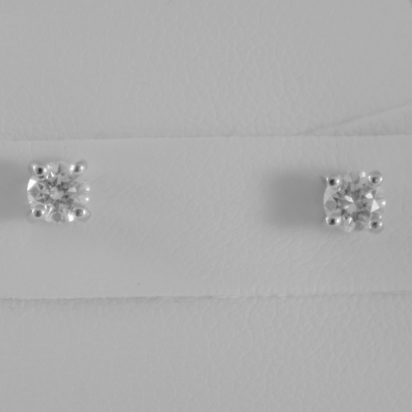 18K WHITE GOLD SQUARE 4 mm EARRINGS DIAMOND DIAMONDS 0.50 CT, MADE IN ITALY