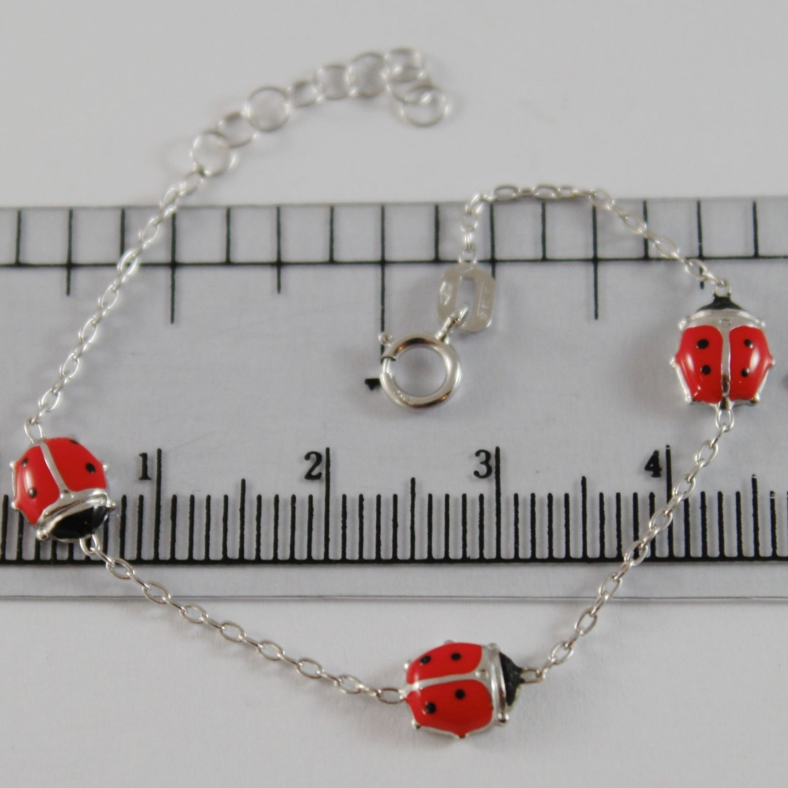 18K WHITE GOLD GIRL BRACELET 5.50 GLAZED LADYBIRD LADYBUG, ENAMEL, MADE IN ITALY