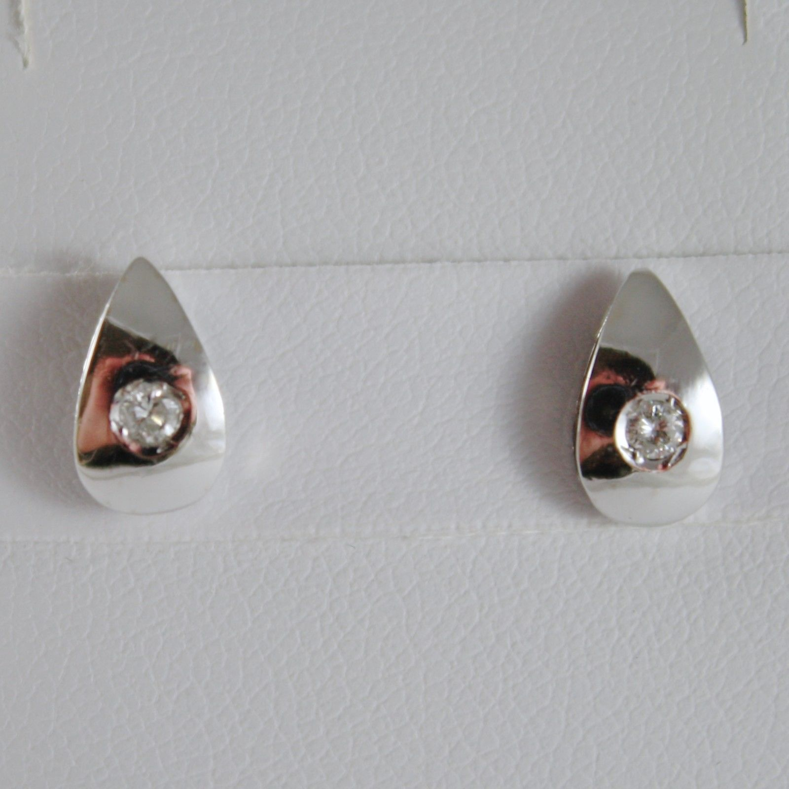 18K WHITE GOLD DROP EARRINGS WITH DIAMOND DIAMONDS 0.08 CARATS, MADE IN ITALY