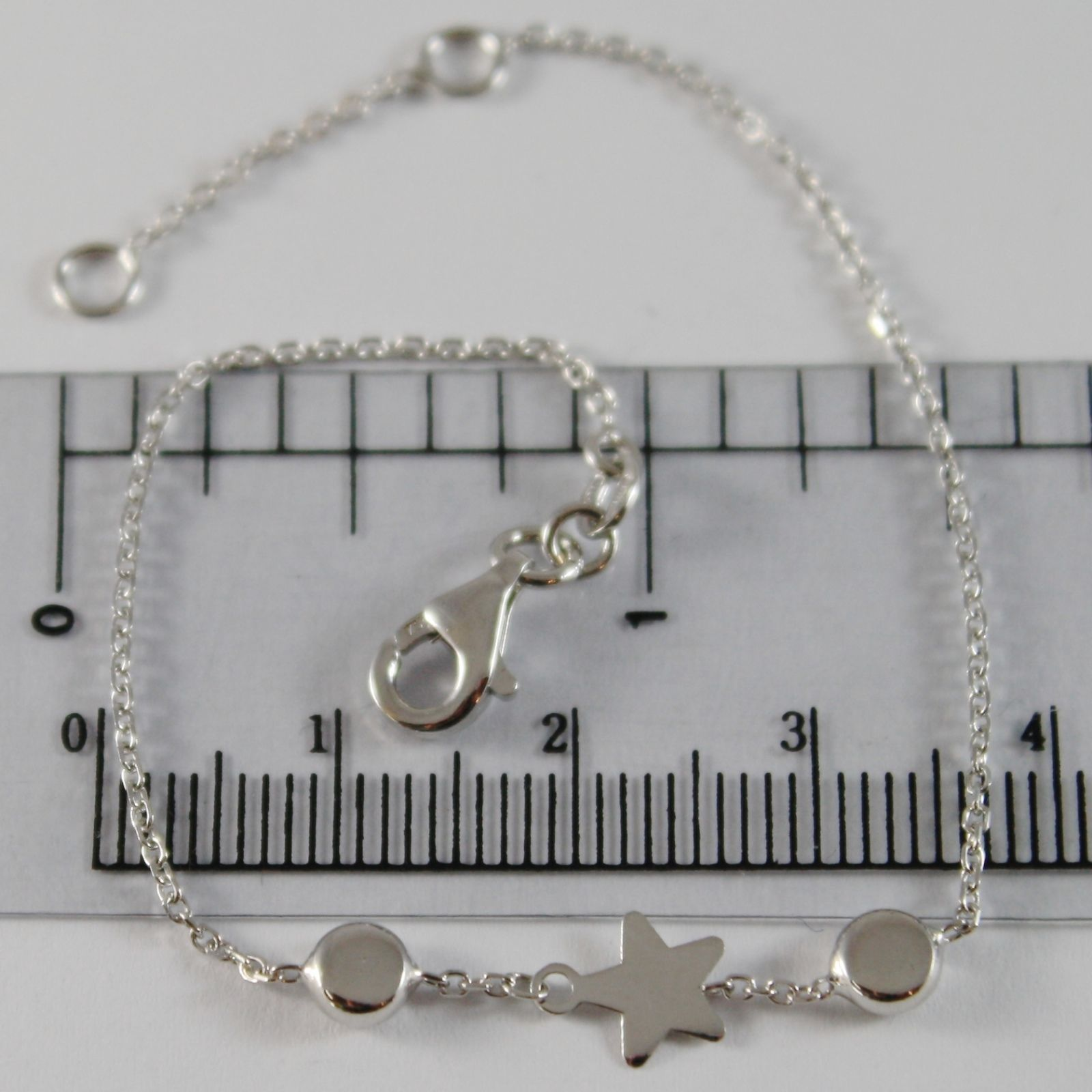 18K WHITE GOLD GIRL BRACELET 6.70 INCHES WITH FLAT STAR AND DISC, MADE IN ITALY