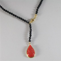 SOLID 18K YELLOW GOLD NECKLACE WITH 4 MM ONYX AND DROP RED CORAL MADE IN ITALY