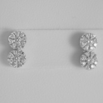 18K WHITE GOLD DOUBLE ROUND EARRINGS DIAMOND DIAMONDS 0.38 CARATS MADE IN ITALY