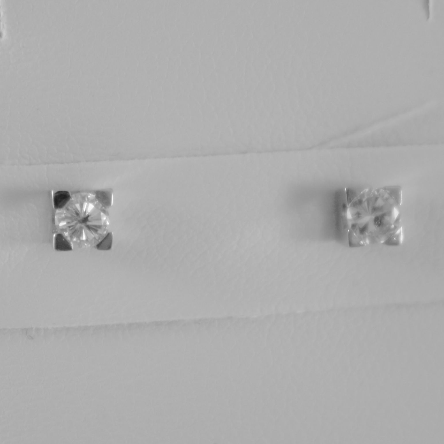 18K WHITE GOLD SQUARE 3.5 mm EARRINGS DIAMOND DIAMONDS 0.32 CT, MADE IN ITALY