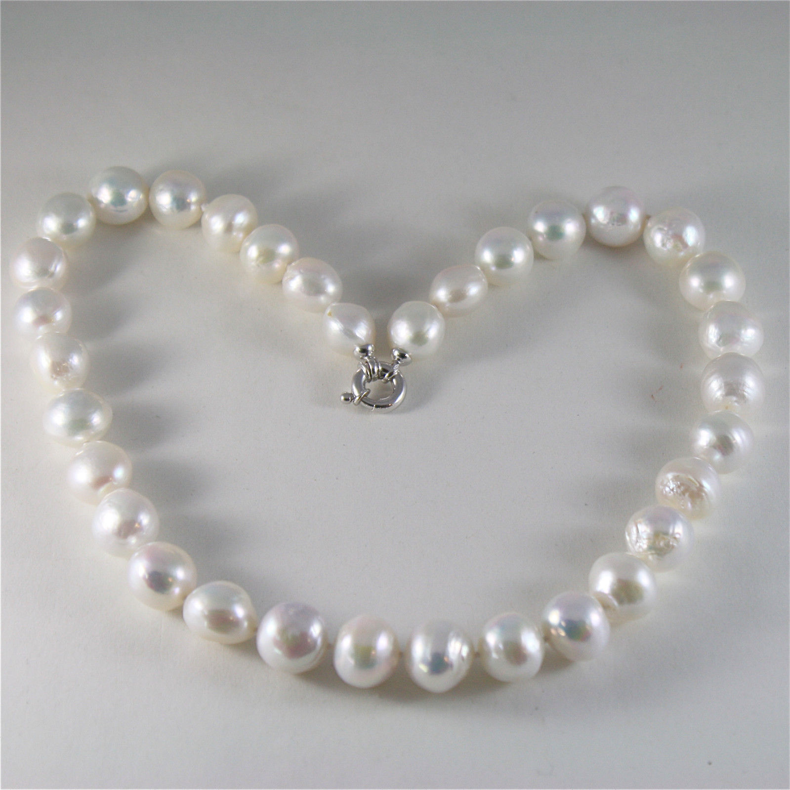 SOLID 18K WHITE GOLD NECKLACE WITH BIG LUSTER BAROQUE 13 MM PEARLS MADE IN ITALY