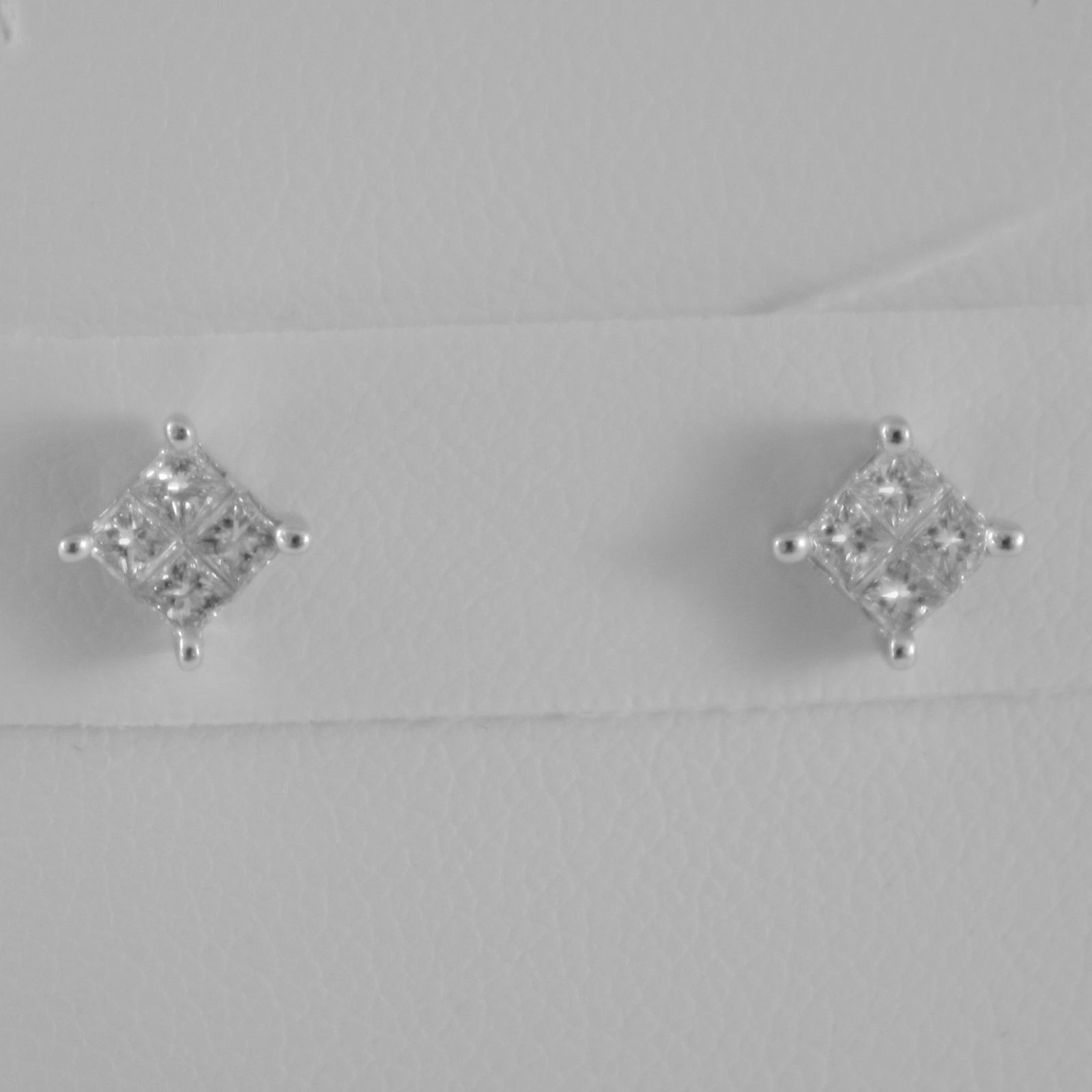 18K WHITE GOLD SQUARE 4.5 mm EARRINGS PRINCESS DIAMOND 0.31 CT, MADE IN ITALY