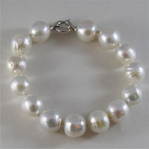 18K WHITE GOLD BRACELET WITH STRAND OF WHITE FW PEARLS 7.87 INCHES MADE IN ITALY