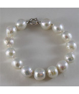 18K WHITE GOLD BRACELET WITH STRAND OF WHITE FW PEARLS 7.87 INCHES MADE ... - $182.88