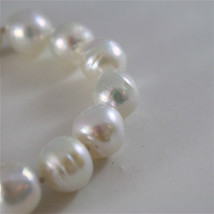 18K WHITE GOLD BRACELET WITH STRAND OF WHITE FW PEARLS 7.87 INCHES MADE IN ITALY image 4