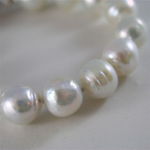 18K WHITE GOLD BRACELET WITH STRAND OF WHITE FW PEARLS 7.87 INCHES MADE IN ITALY image 3