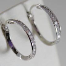 18K WHITE GOLD EARRINGS HOOP 20 MM DIAMETER WITH ZIRCONIA 1.48 CT MADE IN ITALY image 2
