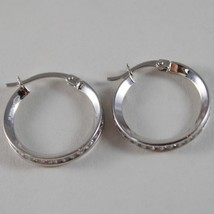 18K WHITE GOLD EARRINGS HOOP 20 MM DIAMETER WITH ZIRCONIA 1.48 CT MADE IN ITALY image 3