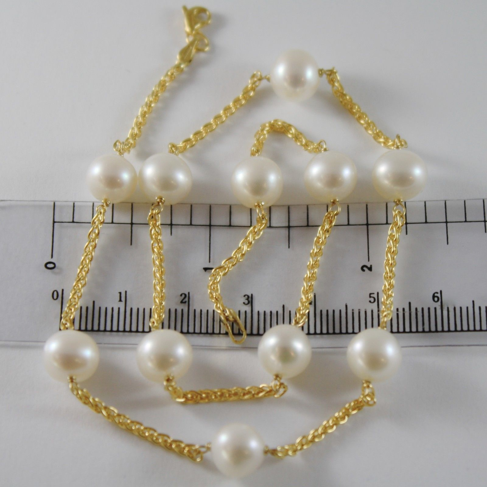 9K YELLOW GOLD NECKLACE WITH WHITE PEARLS 9 MM, 42 CM, 16.5 INCHES MADE IN ITALY